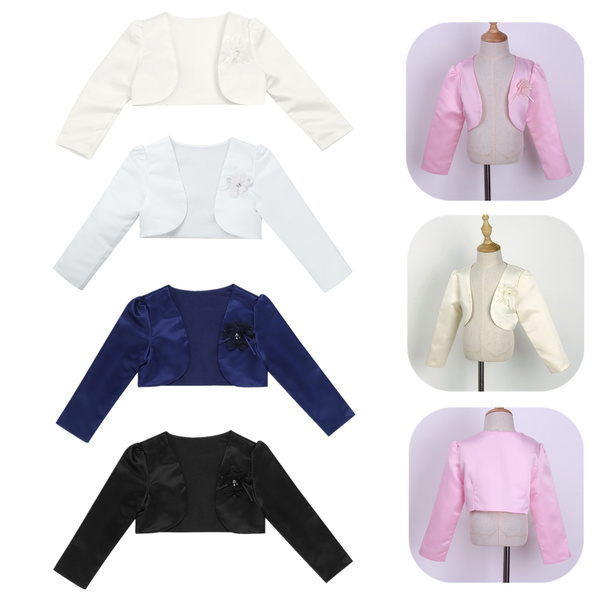 Girls Long Sleeves Bolero Jacket Shrug Short Cardigan Sweater Dress Cover Up