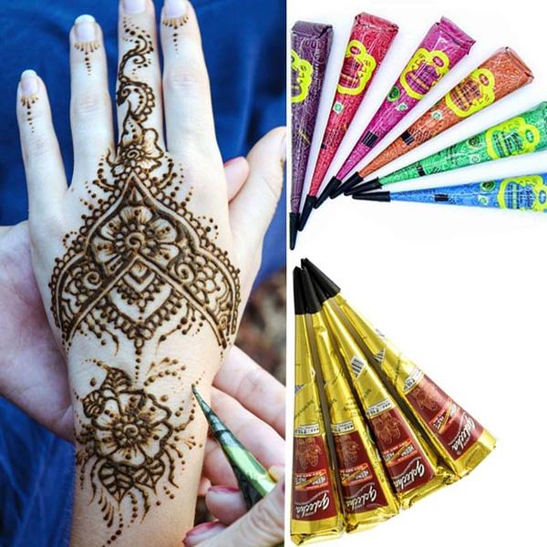 Fashionstorm Henna Tattoo Paste Cones Temporary Indian Mehndi Henna ...