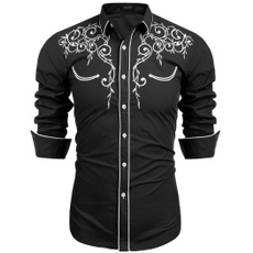 slim shirts, embroideryshirt, Shirt, Sleeve