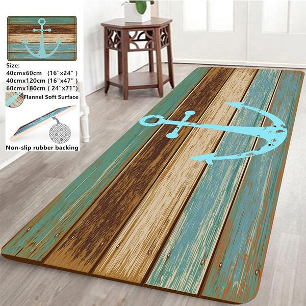Home Decor Nautical Anchor Rustic Wood-3D Rugs Bath Mat Bath Rugs Anti-slip  Kitchen Mats Bathroom Mat Bathroom Carpet