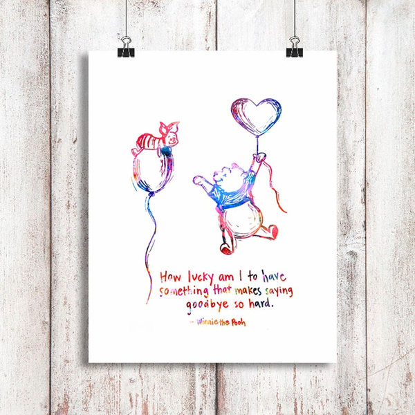 Wish Winnie The Pooh Quotes Watercolor Art Print Poster Painting