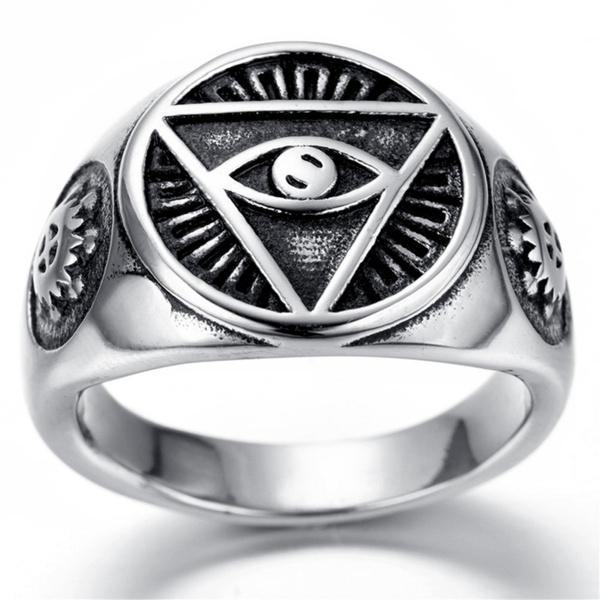 Wish Men Ring Jewelry Gift Illuminati Pyramid Eye Symbol Design