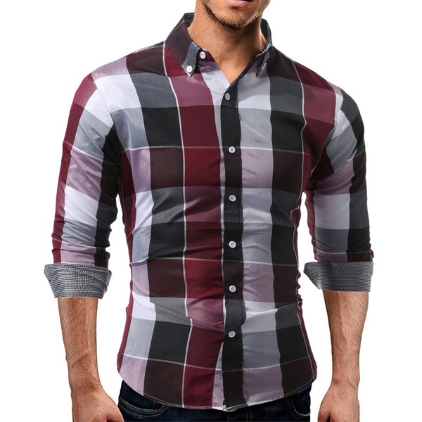plaid shirt, Fashion, Shirt, Cotton Mens Shirts
