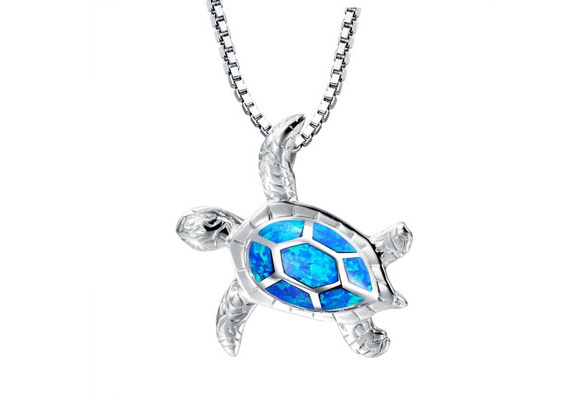 Sterling Silver Created Blue Opal Sea Turtle Pendant Necklace with 18inches Chain.
