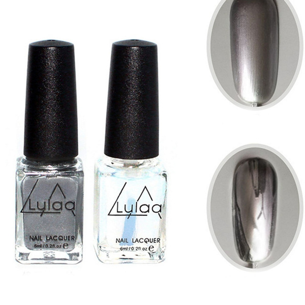 Wish New 2pcs Mirror Effect Chrome Metallic Silver Nail Art