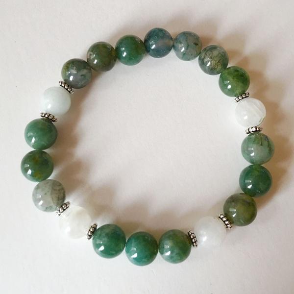 Balance Inner Growth Natural Aquatic Agate Bracelet White Jade Healing Jewelry Intention Yoga Mala Beads