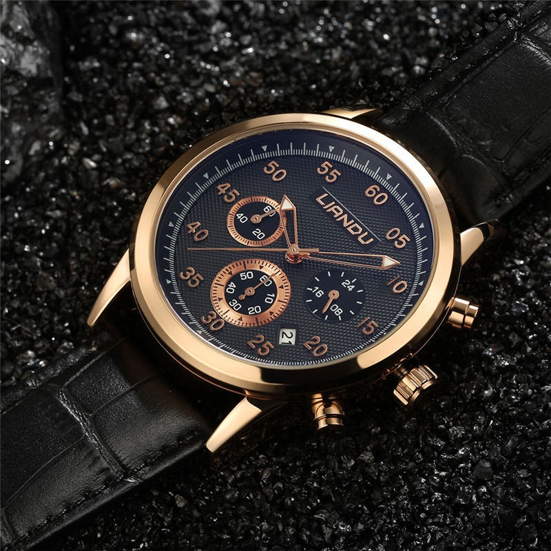 9dacbd29464 Relógios masculinos de couro de quartzo de LIANDU Relógios de couro genuíno  relógio de cronógrafo