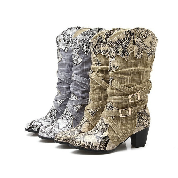 great discount for huge selection of huge sale Winter Snow Boots Women's Fashion Shoes Western Cowboy Boots Snake Print  Mid Calf Snow Boots Shoes Women Botas Mujer