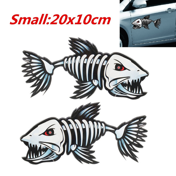 """2 Skeleton Fish Boat Stickers Large Vinyl Decals Graphics Fishing 10/"""" x 23/"""""""