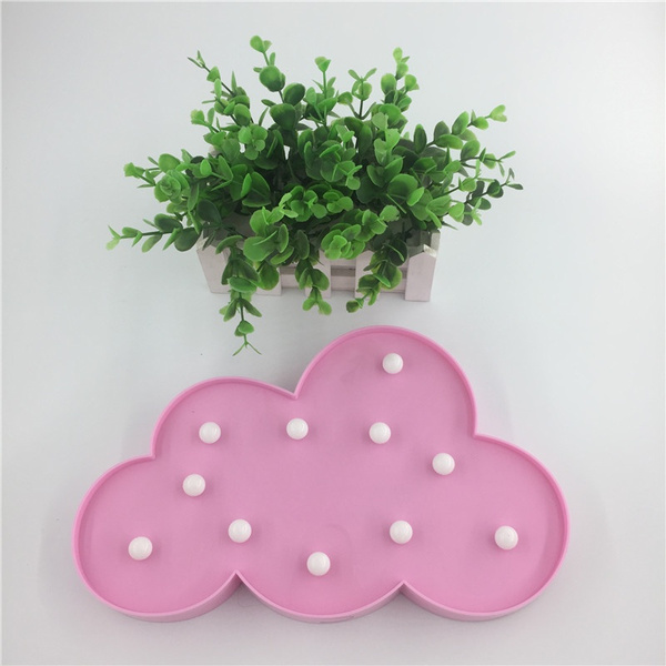 Novelty Led Pink Cloud Night Light Hang Up Children Bedroom Desk Lamp Party Wedding Christmas Decor Battery Operated Kids Gifts
