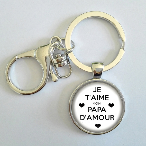 New French Charms Love Dad Keychain Je Taime Mon Papa Damour Vintage Men Jewelry Key Chain Ring Holder For Car Pendant Perfect Holiday Gifts Ct497