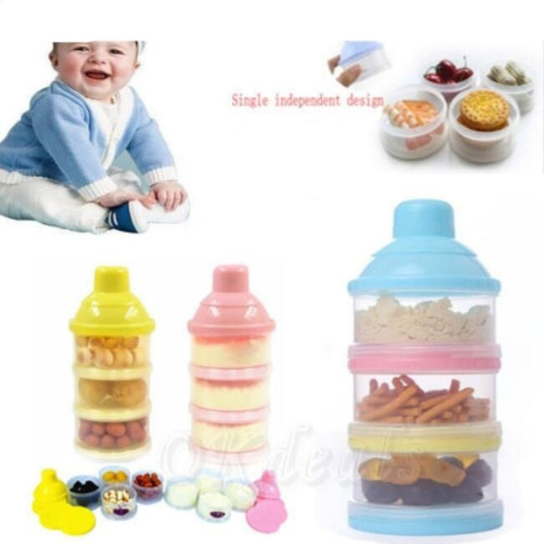 Baby Infant Portable Feeding Milk Powder /& Food Bottle Container 3 Cells Grid