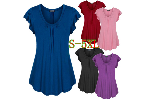 Women's Fashion Cotton V-neck Short Sleeve Shirt Solid Color Loose Pleated Hem Tops Blouse Plus Size XS-5XL