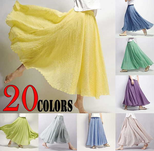 d7b191004e 20 Colors to Choose Double Layer Linen Maxi Skirt Pleated Vintage ...