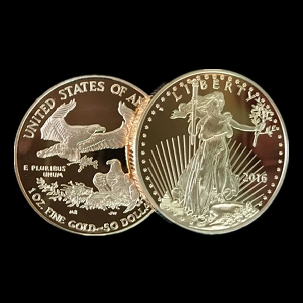 Non Magnetic 32 6 mm The Freedom Eagle 2016 24k real gold plated American  liberty souvenir replica coin