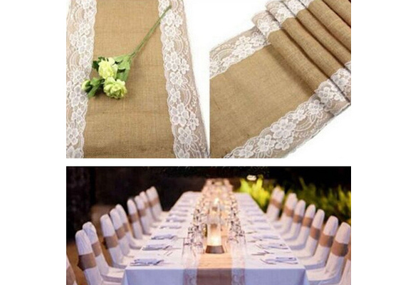 Hessian Burlap Ribbon Lace Rustic Wedding Party Decoration Centre Table Bunner
