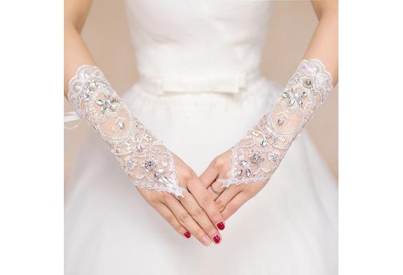 Bride Wedding Dress Short Gloves Beads Lace Fingerless Gloves