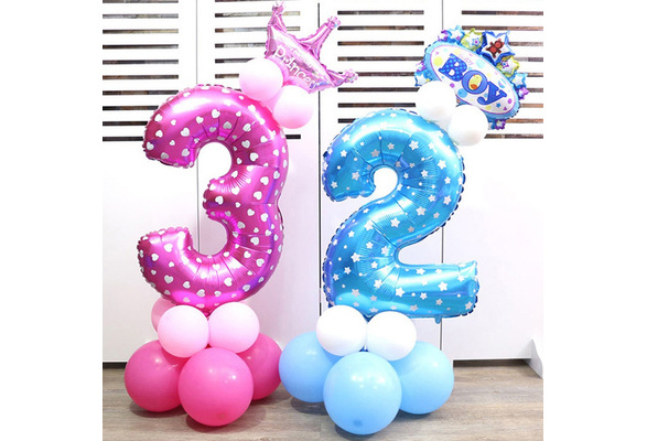 32inches Number Helium Balloon Aluminum Foil Balloons For Birthday Party Wedding Decoration Ball (Blue / Pink)