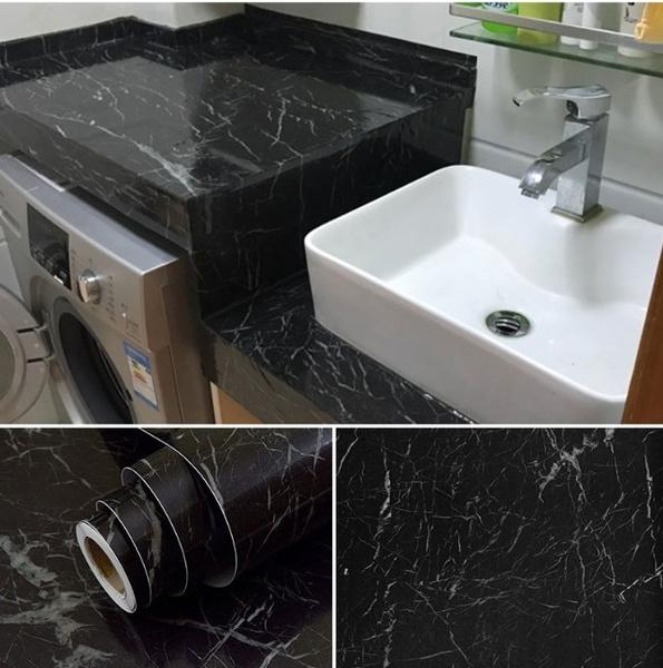 Black Marble Self Adhesive Wallpaper Furniture Tiles Kitchen
