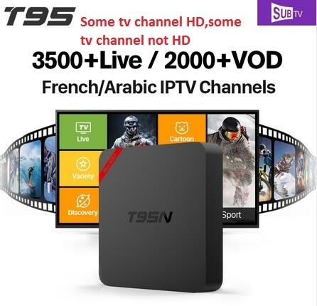 French Arabic IPTV T95N TV Box Android 6 0 with 1 years free 3500 IPTV  Subscription Channels some channel is hd, some tv channel is not hd,tv  channel