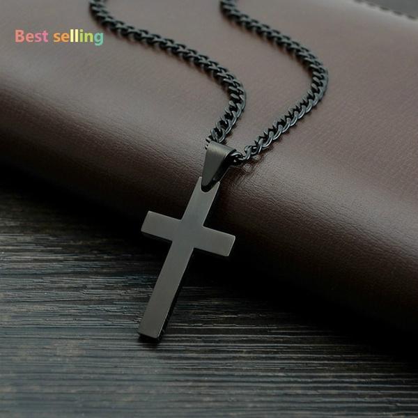 Vintage Cross Pendant Necklace Stainless Steel Necklace New Design Black  Chain Pendant Necklace Men Women Necklace (Size: 60 cm, Color: Black)