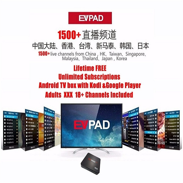 EVPAD PRO Online TV Box Android 4 4 with Google Player 1500+ Global Live  Channels, Free Smart 4K UHD Kodi Multimedia Player Center with Chinese