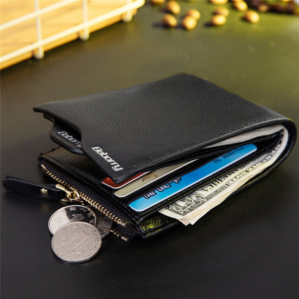 Wish | New Fashion Men Casual RFID Protection Credit Card Holder Zipper Wallet Case PU Leather Pocket Money Clip Coin Purse(Color:Black,Coffee)