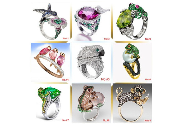 Genuine 925 Sterling Silver Animal Ring Rare Gemstone Diamond Rose Gold Monkey Lizard Chamleon Forg Parrot Pearl Wealth Bird Golden Cocktail Party Rings Magpie Wedding Band for Women Size 6 7 8 9 10