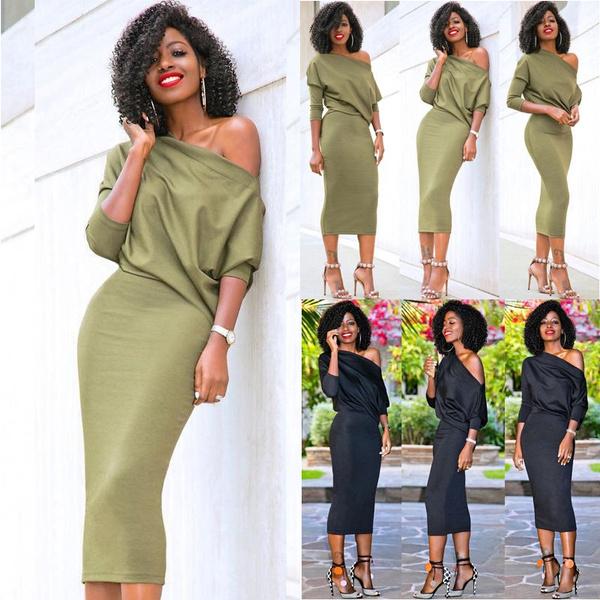 womenoffshoulderdres, women long sleeve dress, Cocktail, fashionwomenbandagedresse