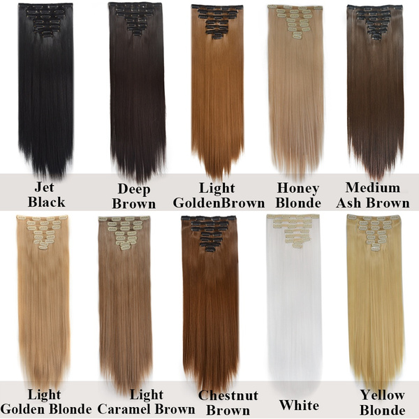 Wish 20 Colors 8pcs 18clips Straight Synthetic Clip In Hair