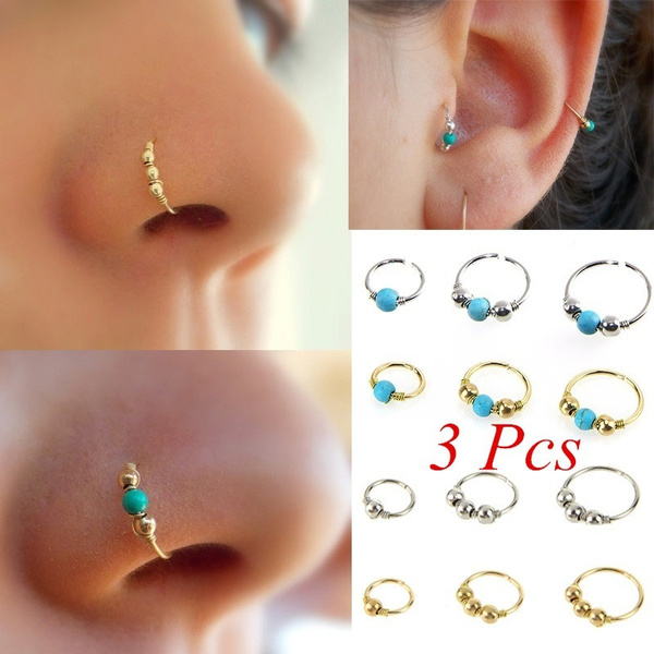 3pcs Sexy Gold Filled Stainless Steel Nose Ring Turquoise Nostril Hoop Nose Piercing Jewelry 6mm 8mm 10mm