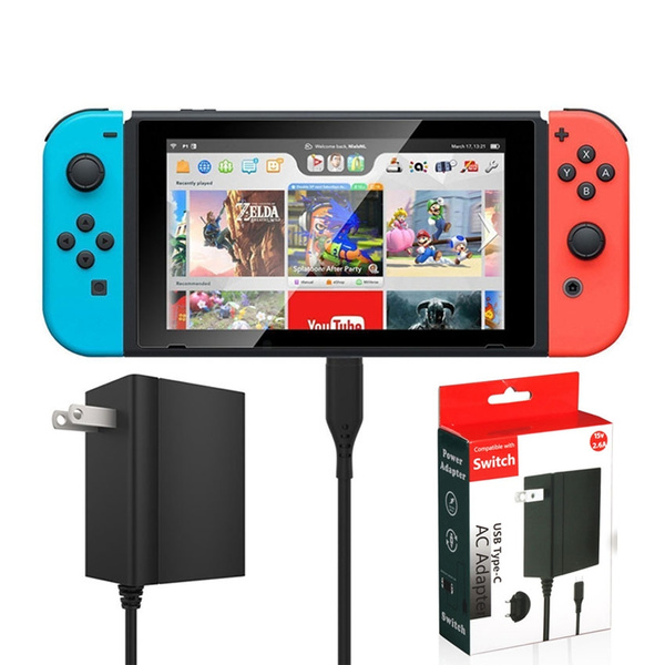 Nintendo Switch USB Type-C AC Adapter, Fast Charger ( Compatible with  Nintendo Switch Dock, Support TV Mode, 15V-2 6A,EU/US Plug )