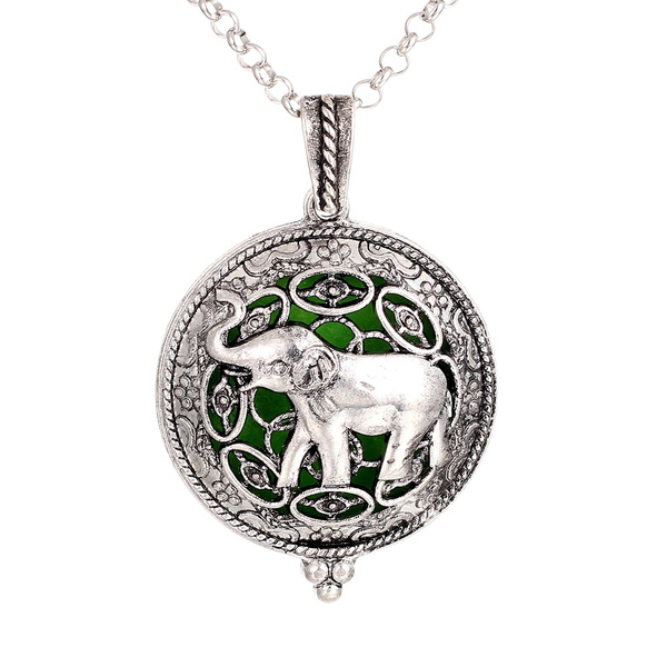 Essential Oil Diffuser Necklace Elephant Aromatherapy Antique SI SILVER Elephant