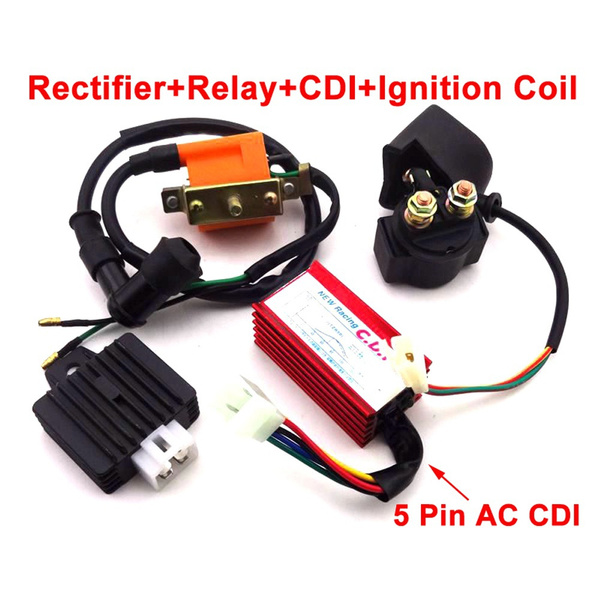 ATV Racing CDI Ignition Coil Regulator Rectifier Solenoid Relay 50cc 110cc Quad