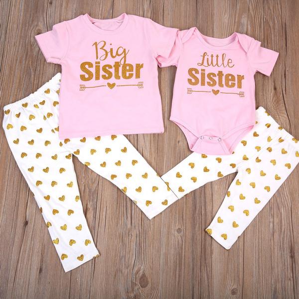 9ba2a3bec6dc6 Newborn Baby Little Sister Romper Big Sister T-shirt+Long Pants ...