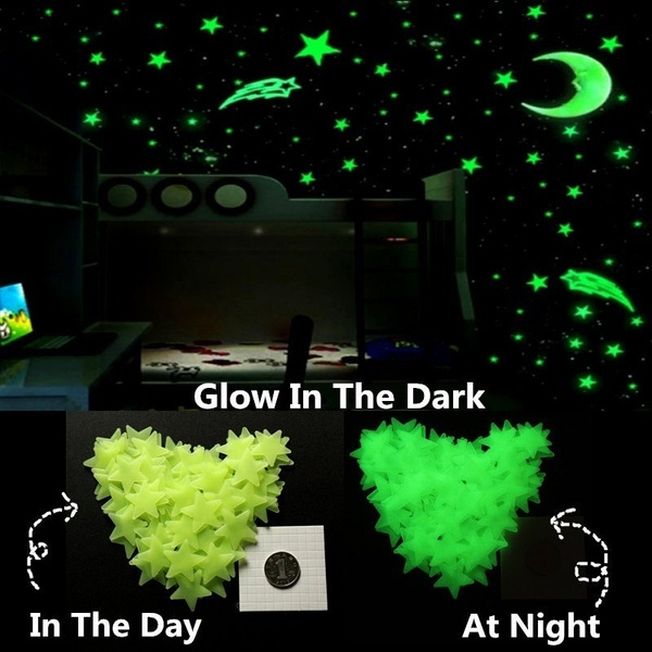 Stickers Muro Bambini.100pcs Fluorescent Wall Stickers Decal Glow Luminous Stars Baby Kids Bedroom Les Paroi Fluorescentes Vignette Toiles B B Enfants Chambre Clat Lumineux