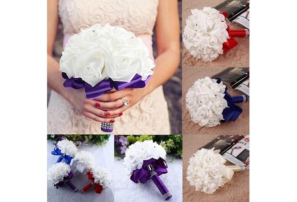Fashion Trendy Crystal Roses Pearl Bridesmaid Wedding Bouquet Bridal Artificial Silk Flowers