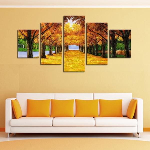 Wish | Frameless 5 Paneles Naturaleza Amarillo Árboles de Oro ...