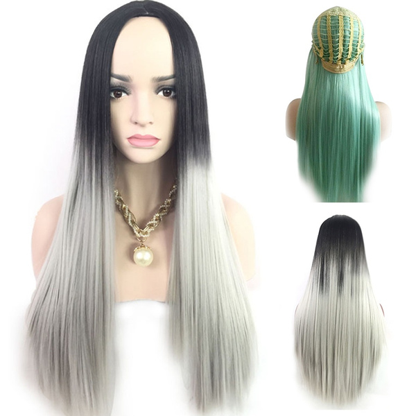 be48a719d Women Long Straight Hair Full Wig Cosplay Ombre Grey/Mint Green ...