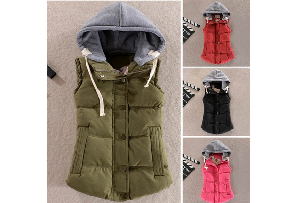 Gilet Veste Women Vest Female Warm Sleeveless Jacket Cotton Solid Hooded Vest for Women