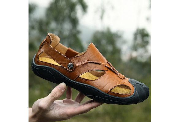 High Quality Men's Summer Leather Sandals Outdoor Sports Beach Shoes Fashion Closed Toe Sandal