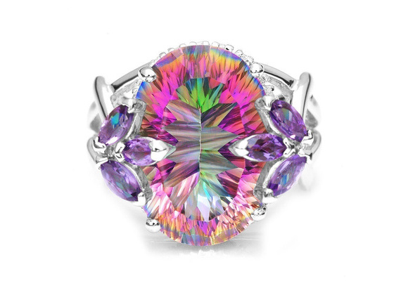 2017 Hot Luxury Ladies Jewelry Pure Natural Mystery Rainbow Yellow Jade Jewel Crystal Princess Cut S925 Sterling Silver Diamond Ring Wedding Jewelry