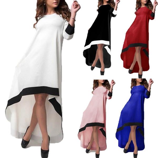Splei Damen High 34 Low Asymmetrisch Arm Sommerkleid WishWomen 8kNnPX0wO