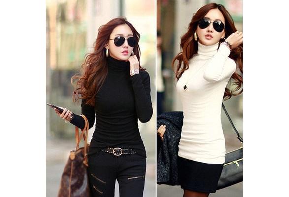 Women's Fashion Autumn Winter Long Sleeve Bottoming Turtleneck Cotton Stretch Base Tops Blouse
