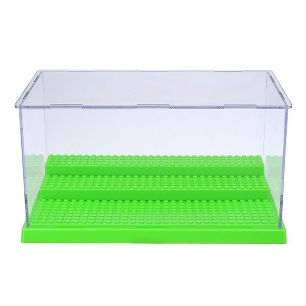 Acrylic Display Case//Box Show Case for Lego Minifigure with 3 Steps Gray Base