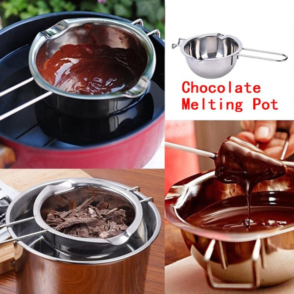 Tae Stainless Steel Chocolate Melting Pot Furnace Heated Milk Bowl With Handle Heated Butter Baking Pastry Newest Tanguangde