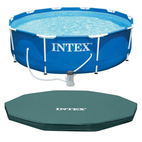 Intex 10ft x 30in Metal Frame Swimming Pool Set w/ Filter Pump and Debris  Cover