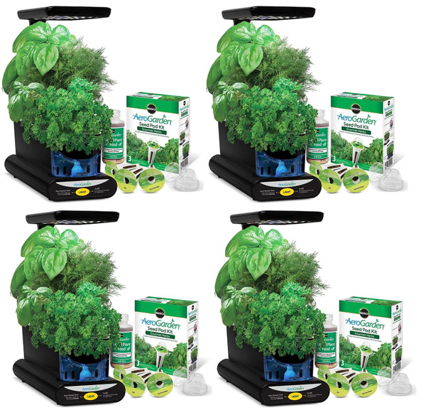 Miracle-Gro AeroGarden 3-Pod Indoor Sprout LED Plus with Herb Seed Kit (4  Pack)