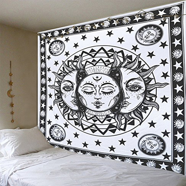Face National Style Tapestry Sun And Moon Wall Bohemian Ethnic Art India Magical Decoration Boho Bedspreads Tablecover Chiffon Shawl