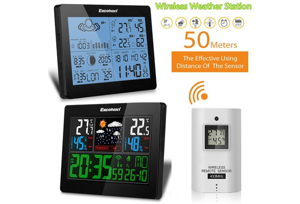 Weather Station Wireless Indoor/Outdoor with  Temperature/Humidity/Forecast,Large Night Lighting LCD Screen Date Time  Displaying Clock (EU Plug)